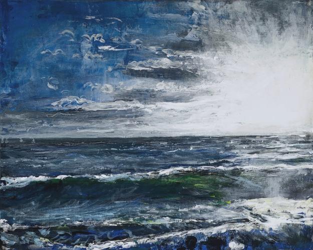 'Castle Point, Lindisfarne'. Acrylic on 20x15 inch canvas