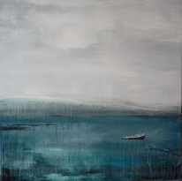 "Sold. 'East - Harbour'. Mixed media on 40x40"" redwood panel."