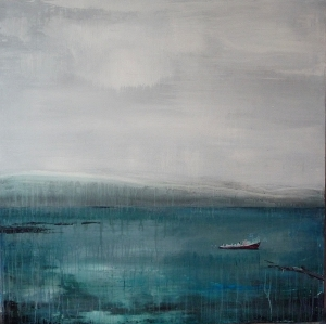 """'East - Harbour'. Mixed media on 40x40"""" redwood panel"""