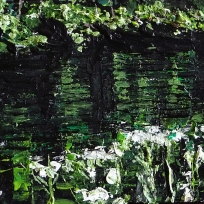 Sold. 'Water Reflections (River Tweed) 2'. Acrylic on 5×5″ wood
