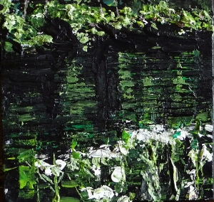 Sold. 'Water Reflections (River Tweed) 2'. Acrylic on 5×5″ wood. Rose Strang 2014