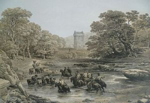 Engraving, showing Borders Reivers raid on Gilnockie Tower
