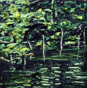 "Sold. 'River Tweed near Peebles 2'. Acrylic on 5x5"" wood. Rose Strang 2014"
