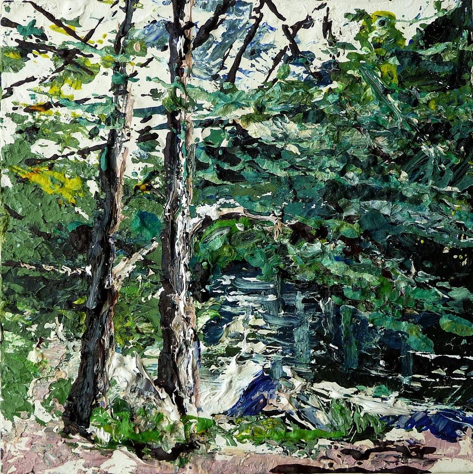 Sold. 'Tweed River near Peebles 2′. Acrylic on 5×5″ wood. Rose Strang 2014