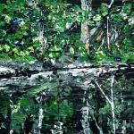 "'Water Reflections (River Tweed) 3. Acrylic on 5x5"" wood"