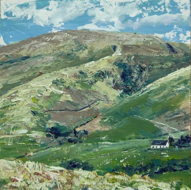 "'Moffat Hills', Acrylic on 10x10"" wood panel"