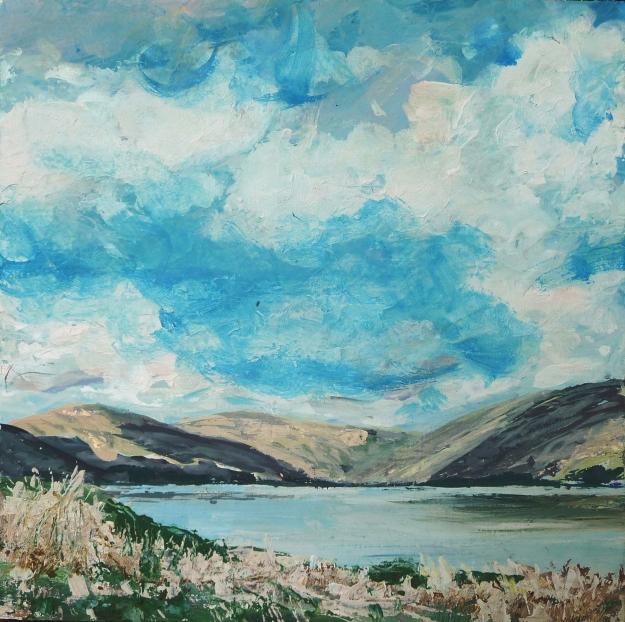 "St Mary's Loch. Acrylic on 10x10"" wood panel"