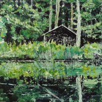 "Sold. 'Wood Cabin, (Leithen)'. Acrylic and varnish on 10x10"" wood"