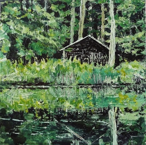 """Sold. 'Wood Cabin, (Leithen)'. Acrylic and varnish on 10x10"""" wood. Rose Strang 2014"""