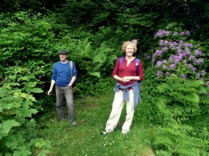 My sister Catherine and friend Donald, dad in the background, trespassing at Leithen