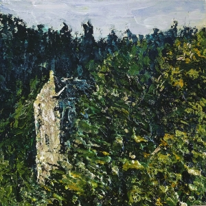 """'Neidpath Castle on the River Tweed'. Mixed media on 10x10"""" wood panel. Rose Strang 2014"""
