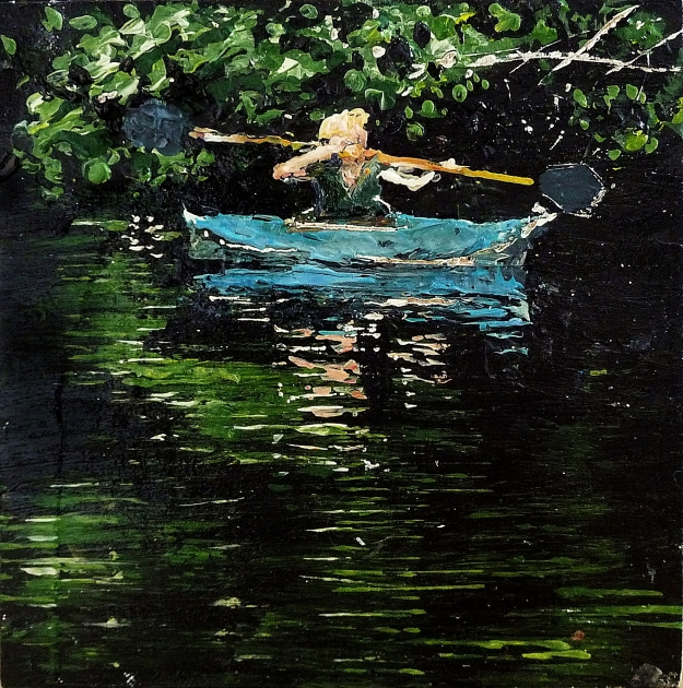 "'Catherine in a Canoe, River Tweed'. Acrylic on 5x5"" wood panel"