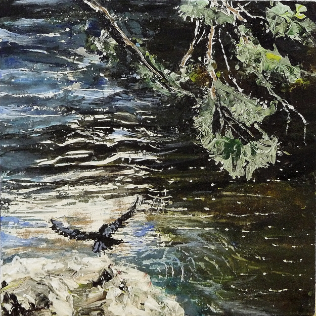 "'Hawk. River Tweed'. Acrylic on 5x5"" wood"