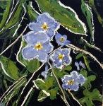 "'Forget-me-nots. Kelso'. Acrylic on 5x5"" wood"