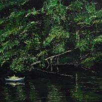 "Sold. 'Blue Canoe (River Tweed)'. Acrylic on 10x10"" wood panel"