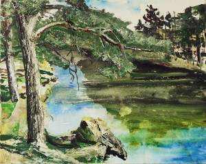 """'Scots Pine and Overhanging Rock (River Tweed)'. Acrylic on 20x16"""" canvas. Rose Strang 2014"""