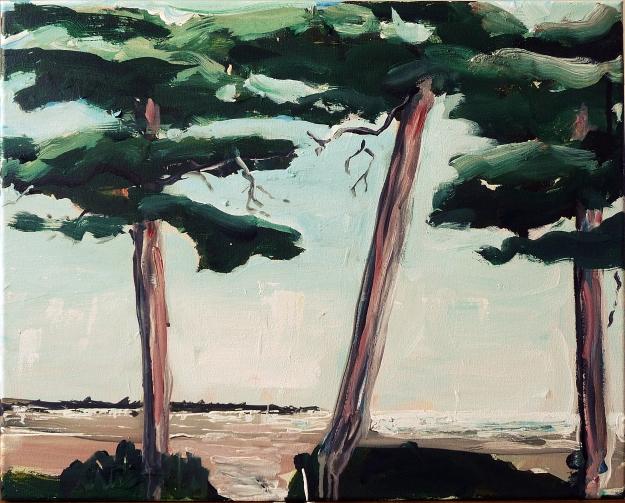 'Scots Pine near Coldingham'. Acrylic on 20x162 canvas