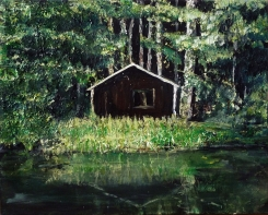 """Sold. 'Wood Cabin (Leithen)'. Mixed media on 20x16"""" canvas"""