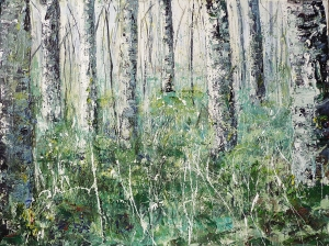 """Sold. 'Birch Trees, Gladhope'. Mixed Media on 40x30"""" canvas. Rose Strang 2014"""