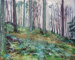 "Sold. 'Glentress Forest, Mist'. Mixed media on 20x16"" canvas"