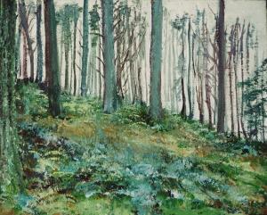 "'Glentress Forest, Mist'. Mixed media on 20x16"" canvas. Rose Strang 2014"