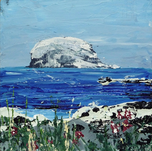 "'Bass Rock, Summer'. Acrylic on 5x5"" wood"