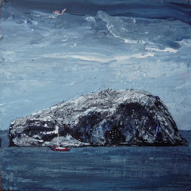 "'Bass Rock, Winter' Acrylic on 5x5"" wood"