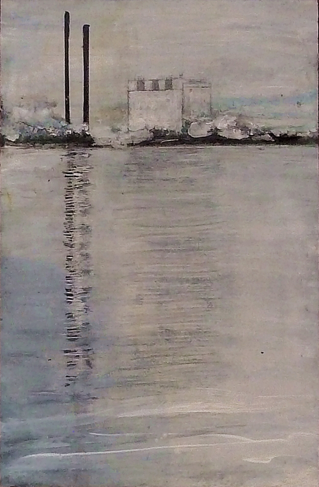 "'Cockenzie Power Station, 26th September 2016'. Mixed media on 17x11"" wood panel"