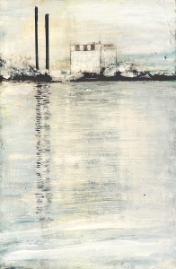 """'Cockenzie Power Station, 26th September 2015'. Mixed media on 17x11"""" wood panel"""