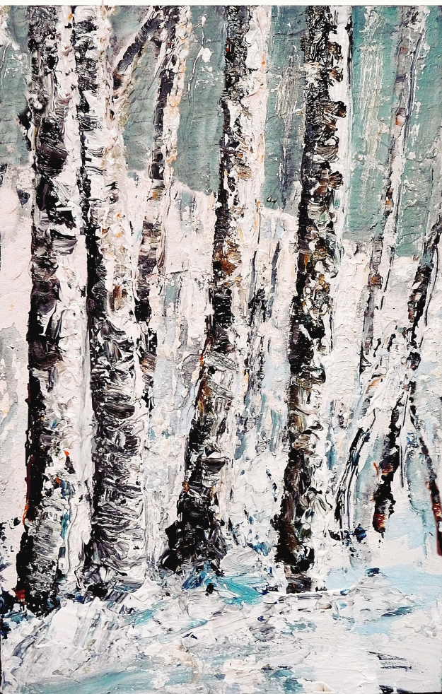 "'Winter Birch Trees'. Mixed media on 17x11"" wood"