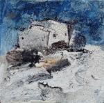 "'Winter House'. Mixed media on 3.5x3.5"" wood. Rose Strang 2015"