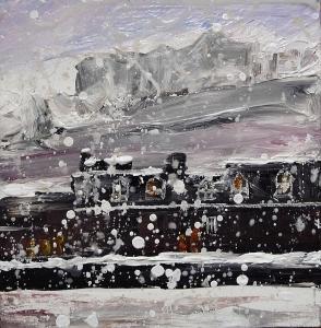 "'Edinburgh Castle from the Grassmarket'. Acrylic on 7x7"" wood. Rose Strang 2015"