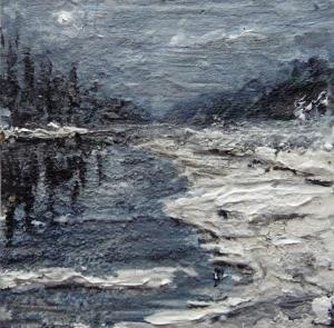 "'River'. Mixed media on 3.5x3.5"" wood panel. Rose Strang 2015"