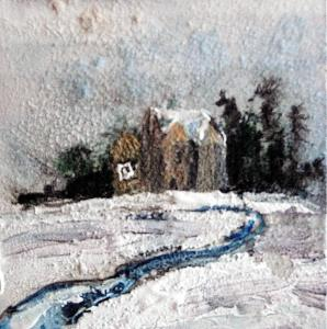 "'Winter House 2'. Mixed media on 3x3"" wood. Rose Strang 2015"