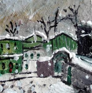 "Green Houses. Snow. Mixed media on 3x3"" wood. Rose Strang 2915"
