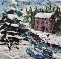 "Winter House 2. Mixed media on 3x3"" wood"