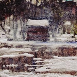 """Lake. Mixed media on 3x3"""" wood. Rose Strang 2015"""