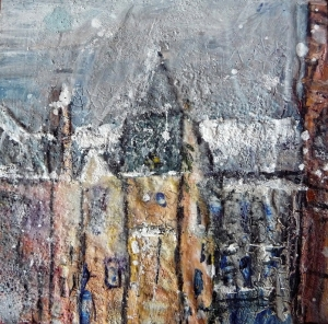 """Quayside Mills, Leith (1). Mixed media on 3x3"""" wood. Rose Strang 2015"""