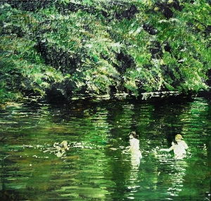 """'Emma and Friends, River Tweed, 2014'. Mixed media on 11x11"""" wood panel. Rose Strang 2014"""
