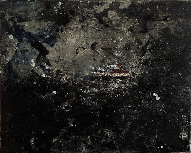 "'Blue 3'. Mixed media on 20x16"" canvas"