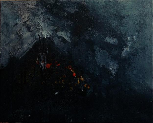 "Blue 5. Mixed media on 20x16"" canvas"