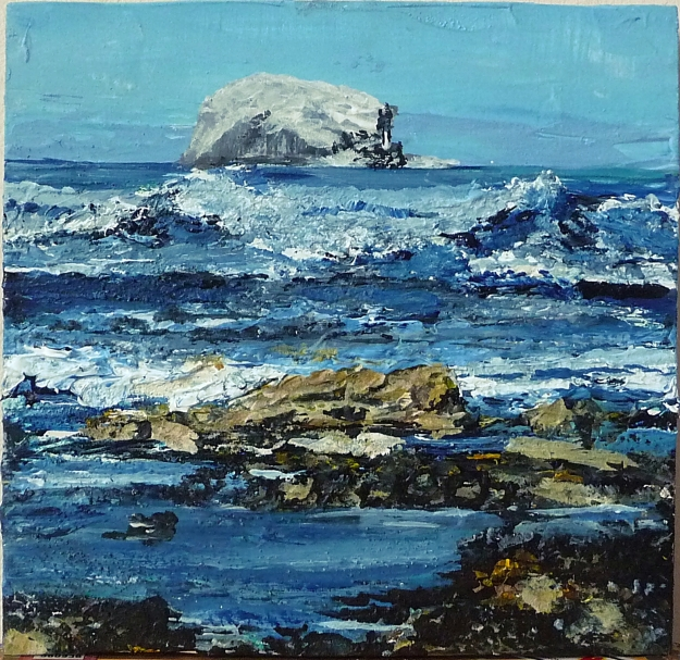 "'Bass Rock and Waves. Acrylic on 8x8"" wood panel"