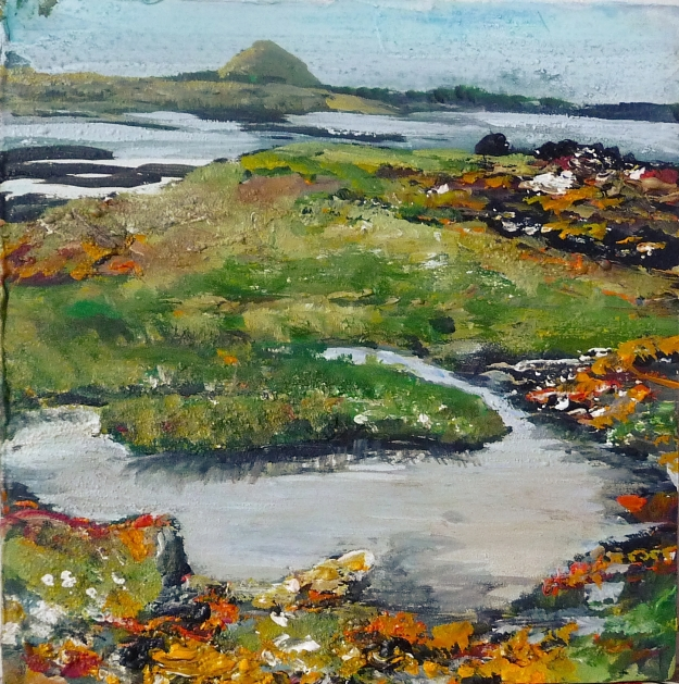 "'Berwick Law from Daisy Island'. Acrylic on 8x8"" wood panel"