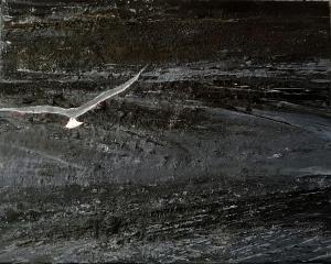 "'Crammond Seagull'. Mixed media on 20x16"" canvas. Rose Strang 2016"
