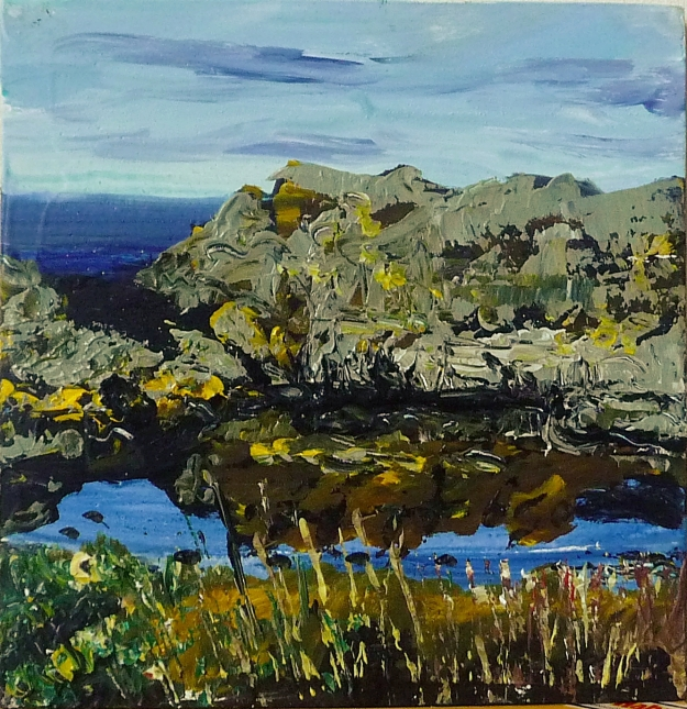 "'Rockpool, Daisy Island (North Berwick)'. Mixed media on 8x8"" wood panel"