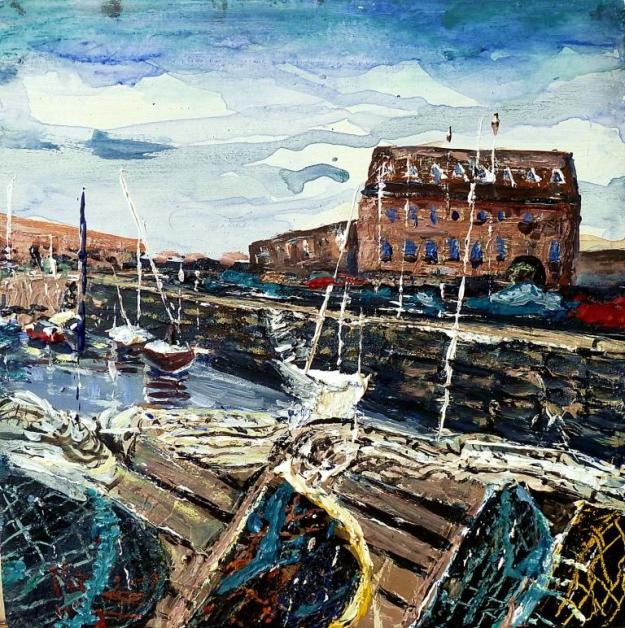 "'North Berwick Harbour'. Mixed media on 8x8"" wood panel"