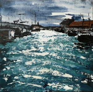 "'Pittenweem Harbour 3'. Mixed media on 8x8"" wood panel"