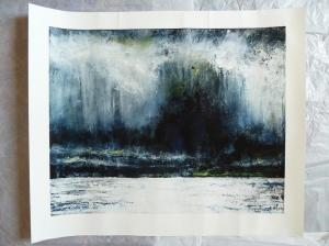 "'Stormy Sky, Lindisfarne'.  20x16"" giclee print (slight damage)"