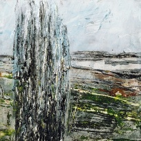"Sold. 'Callanish 1'. Mixed media on 5x5"" wood"