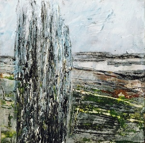 "'Callanish 1'. Mixed media on 5x5"" wood"
